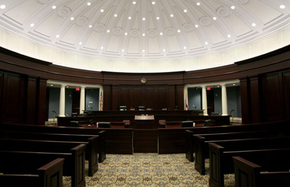 Inside view of a courtroom